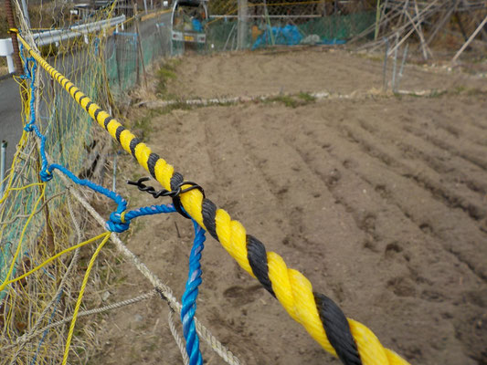 トラロープを回して網を取り付ける。