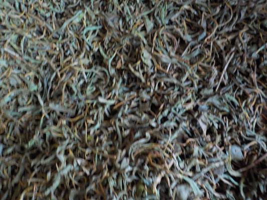 湿度の高い、暖かい所で酸化発酵させ、高温で乾燥させます。