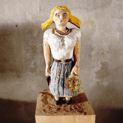 arte figura | Mord Marie (Holzfigur) | Lindenholz aus einem Block gefertigt, 55 cm hoch inkl. Block