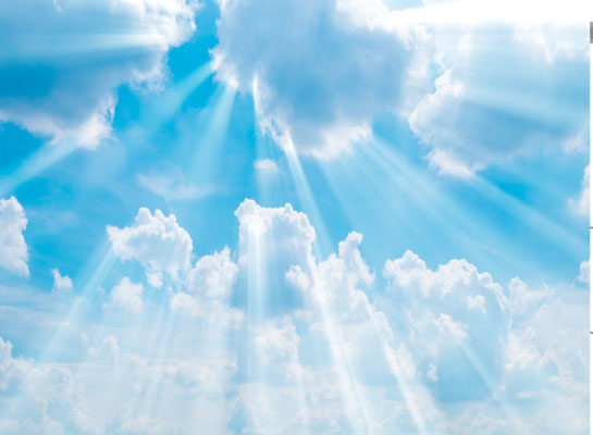 3D Spanndecke Himmel mit Wolken und Sonnenstrahlen