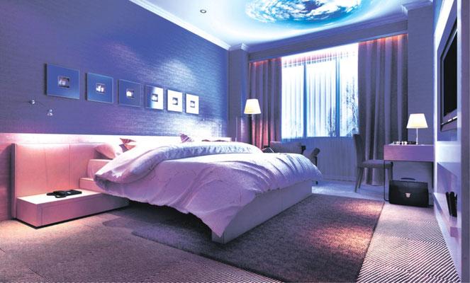 3D Spanndecke im Schlafzimmer beleuchtet