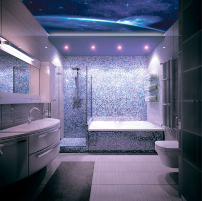 3D Spanndecke im Bad-beleuchtet Himmel bei Nacht mit Sternen