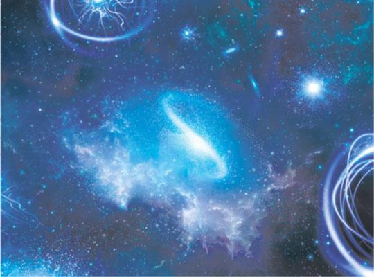 3D Spanndecke Himmel bei Nacht mit Sternen