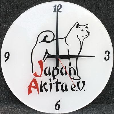 Uhr aus Acrylglas mit Junghans-Uhrwerk; schwarz oder weiß; quadratisch oder rund; Durchmesser ca. 28 cm; 90,-€