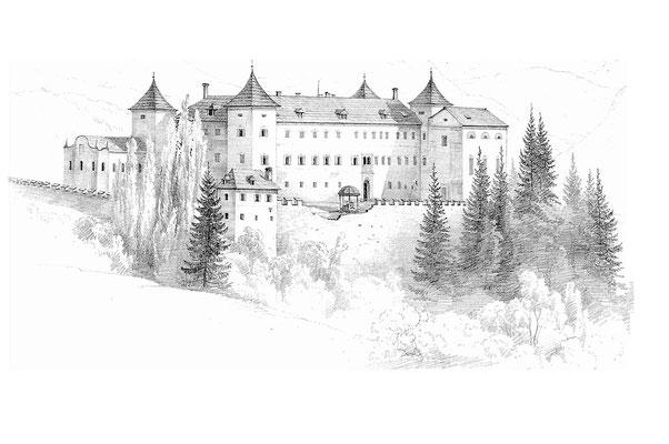 Zeichnung von Schloss Wernberg, von Markus Pernhart im Auftrag von Max von Moro