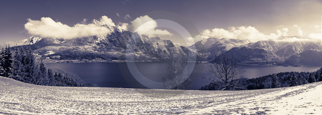 """view hoellengebirge"" - attersee - ART edition - size XXL - picture ID 221313 tone -LY"