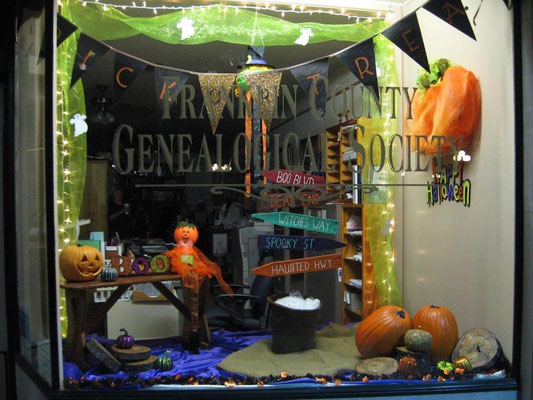 FCGS Halloween window display, October 2016