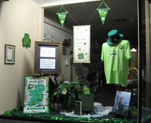 FCGS St. Patrick's display by Linda Hammond, March 2016