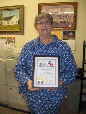 Phyllis K. Brown shows her Texas First Families certificate 2016