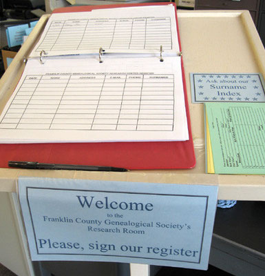 Register of visitors, Franklin County Genealogical Society Research Room