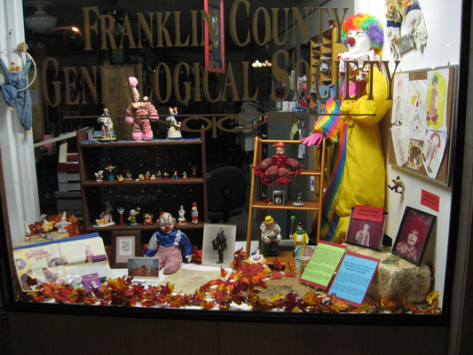 "2013 display of Johnny Newsom's clown collection, after retiring from being ""Red, the Clown."" (Photo courtesy of Sue Bolin)"