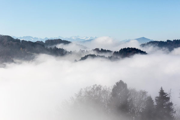 Horizont reiht sich hinter Horizont - bis zu den Berner Alpen.