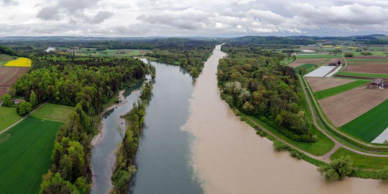 Einmündung in den Rhein bei Hochwasser (3.5.2015)