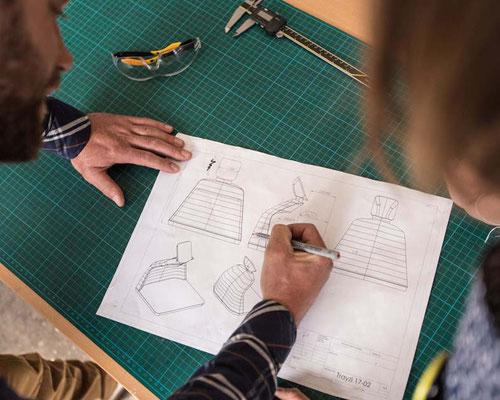 Projektbesprechung anhand von einem 2D- Entwurf
