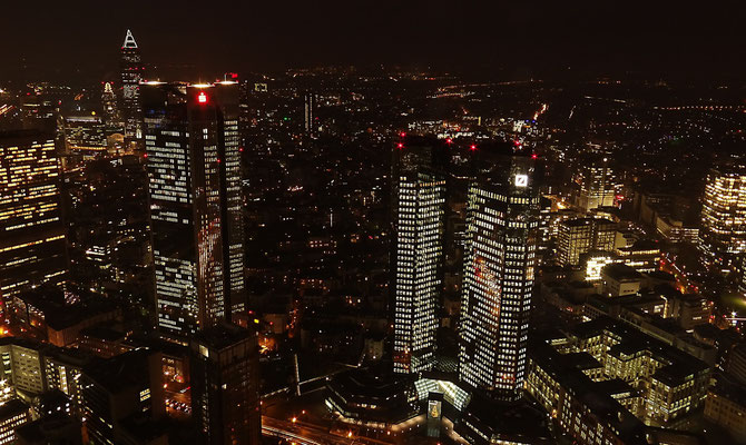 Frankfurt - Nightview from Top of the Maintower by Ralf Mayer