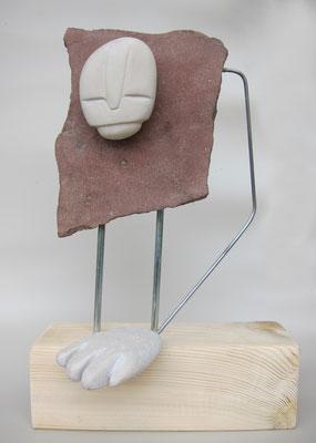 FRAGILE rosso - 2017 - pietra, acciaio, legno - 27X18X11
