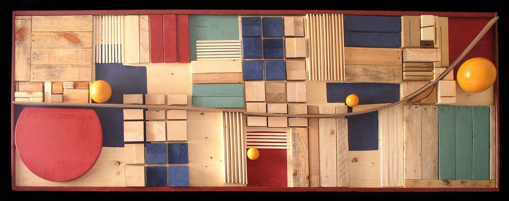 I GIORNI FELICI DI KABUL (mappa di pace) - 2004 - legno di recupero, resine - 240x70x15