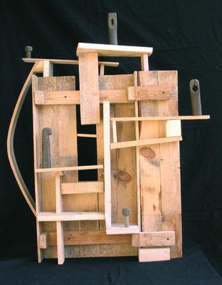 CONDOMINI - 2006 - legno di recupero - 77x73x22