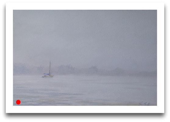 Nebel auf der Elbe, 14 x 21 cm