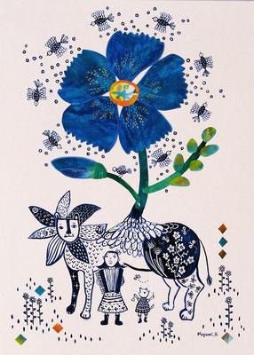 """青い花ライオンの下でうたう """"Singing under the Blue Flower Lion"""""""