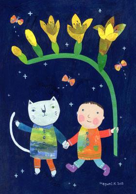 """フリージアとねこさんとぼく """"A freesia, cat and I"""""""