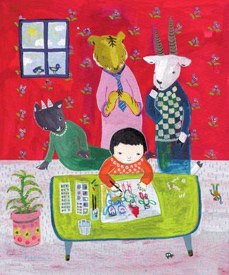 """絵を描く子供と、それをみ守るかしこい大人達 """"A child is painting and clever adults are watching her"""""""