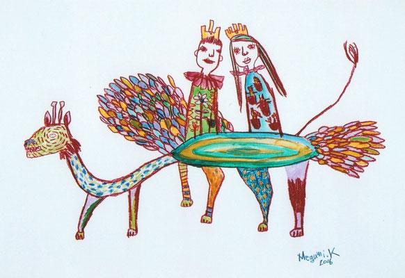 """お姫様王子様ドラゴンの上 """"Princess and prince on the dragon"""""""