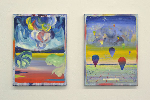 """Matthias Moravek """"Krakatao"""", Öl /Lack auf Leinen, 40x30 cm, 2021.  Bild auf der rechten Seite: """"Dripdrop"""", Öl /Lack auf Leinen, 40 x 30 cm, 2021"""