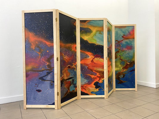 "Alke Brinkmann, ""Natura naturans / Cielo"", 160x250 cm, Mischtechnik auf Holz, 2020"