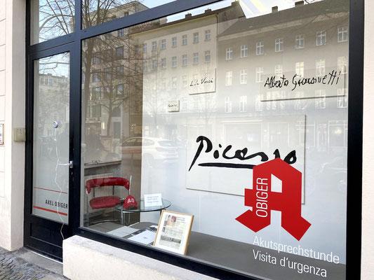 Akutsprechstunde: Thilo Droste. In Betrieb am 23. April 2021, 16-19 Uhr. Im Bild: Annonce / private Kunstanzeige (FAZ, 7./8.2.2009), gerahmt 8 x 11 cm, 4 Gemälde, Öl auf Leinwand, div. Maße