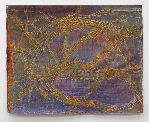 Enrico Niemann, Twist, 2019, Mischtechnik mit Acrylfarbe + Papier, 33 x 41 cm