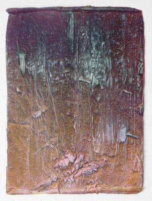 Enrico Niemann, Kapsel, 2021, Mischtechnik mit Acrylfarbe + Papier, 50 x 37 cm