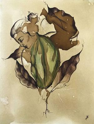 'cardamom' coffee ink, mixed media on canvas board. 30x40cm