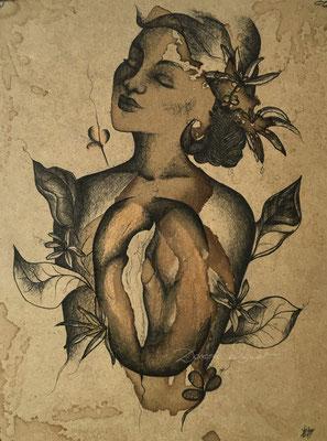 'coffee woman' coffee ink, mixed media on woodplate. 24x32cm