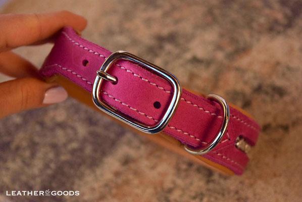Hundehalsband FLASH ME - Fettleder in Pink, Nappaleder in Goldbraun, Naht in Rosa, SWAROVSKI ® Steine in Crystal, Beschläge in Silber