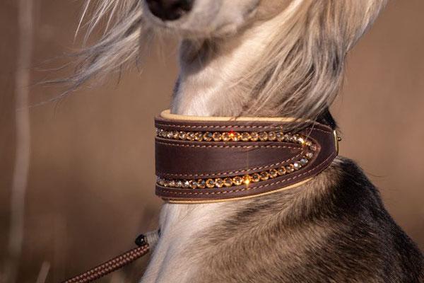 Hundehalsband FLASH ME - Fettleder in Dunkelbraun, Nappaleder in Vanille, Naht in Hellbraun, SWAROVSKI ® Steine in Crystal Golden Shadow, Beschläge in Messing