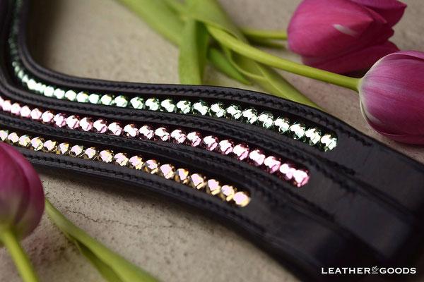 Stirnriemen - geschwungen - Zaumleder in Schwarz, Naht in Schwarz, SWAROVSKI ® Steine in Chrysolite, Light Rose und Light Silk