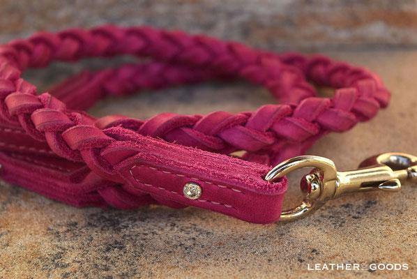 Hundeleine ROUND 'N' ROUND - Fettleder in Pink,  Naht in Rosa, SWAROVSKI ® Stein in Chrystal, Beschläge in Silber