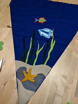 """""""Under the sea"""" Genähte Schultüte mit Unterwasser-Motiv und Glitzerfischen"""