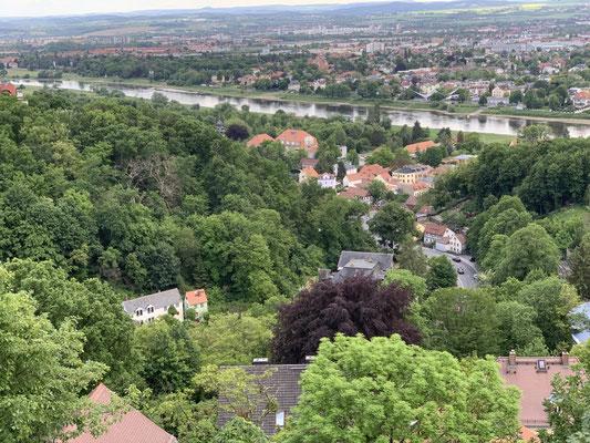 """Durch den Standort an den oberen Elbhängen wird der Luisenhof auch als """"Balkon Dresdens"""" bezeichnet."""