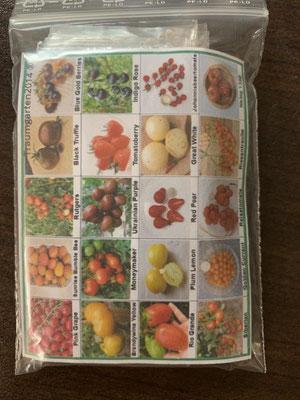 15. März 2020 das Saatgut ist da (20 Sorten, von den ich 5 Sorten ausgewählt habe mit je 2 Samen)