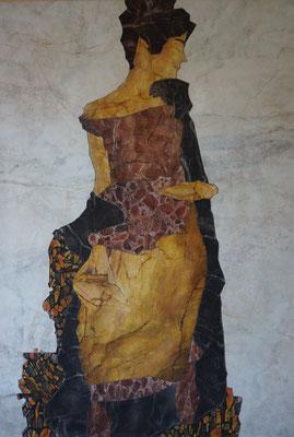 Marmorintarsie nach einem Ölgemälde von Egon Schiele, 2,65 x 2,65m