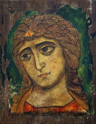 Kopie einer Russischen Ikone (um 1200), Erzengel Gabriel; Beize, Spachtelmasse, Dispersion und Schlagmetall auf Holz (70x90cm)