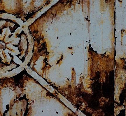 Rostimitation, plastische und malerische Bearbeitung auf Holz, 90 x 60 cm