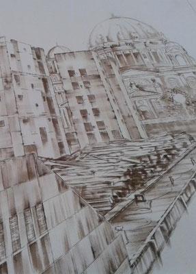 Tinterung (Ausschnitt) /// fixed sketch on linen (detail)