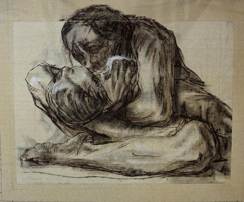 """Papierimitation und Kopie einer Graphik von Käthe Kollwitz, """"Mutter mit totem Kind"""", 2m x 1,70m (Dispersion auf Leinen)"""