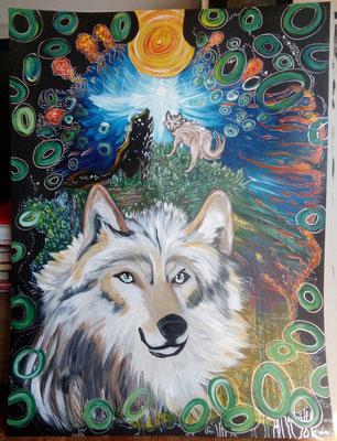 Des Wolfes Natur Acryl/Eddingsmix aud Pappe 100x70cm 2017