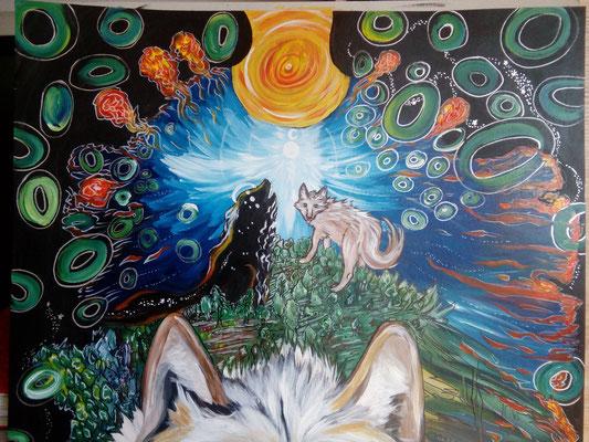 Des Wolfes Natur Acryl/Eddingsmix aud Pappe 100x70cm 2017 - Ausschnitt