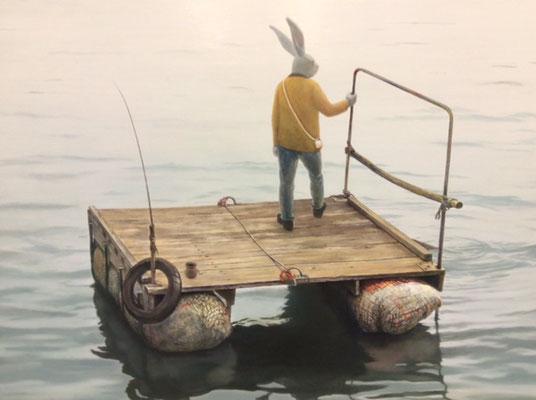 画家、原太一の絵画作品です。「未明の出発」