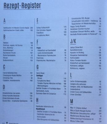 Rezept-Register von A-Z für das Pampered Chef Koch und Backbuch